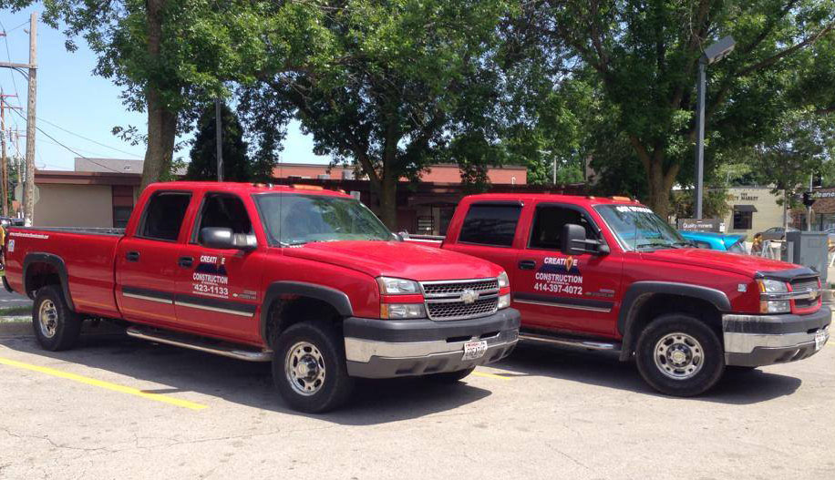 Creative Construction of Wisconsin Red Service Trucks